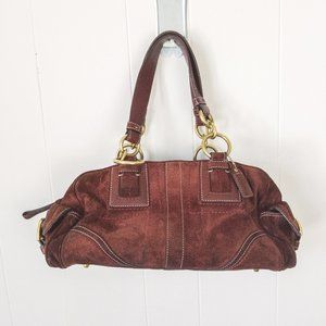 Coach Hampton Burgundy Suede Satchel F10061